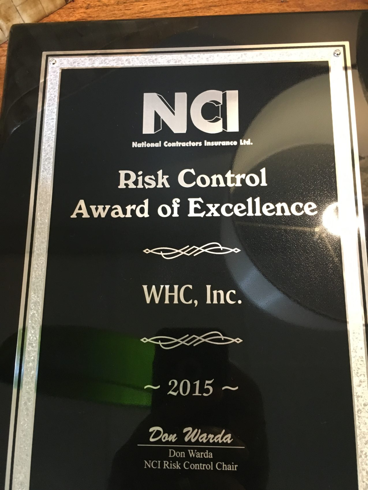 WHC Awarded 2015 NCI Excellence for Risk Control